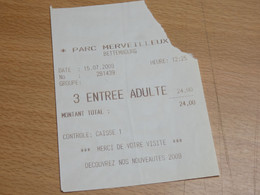 ZOO  TICKET D'ENTREE.  PARC MERVEILLEUX BETTEMBOURG. LUXEMBOURG 2009. - Autres
