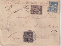"""FRANCE : AFFRANCHISSEMENT A 50 Cts . TYPE SAGE . CHARGE . """" PARIS 5 PL DE LA REPUBLIQUE """" . 1890 . - 1877-1920: Semi-Moderne"""