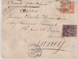 """FRANCE : AFFRANCHISSEMENT A 65 Cts . TYPE SAGE . CHARGE . """" PARIS 66 R MEISSONIER """" . 1897 . - 1877-1920: Semi-Moderne"""