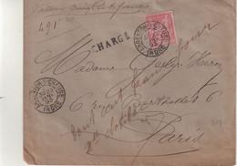 """FRANCE : N° 98 . TYPE SAGE . CHARGE . """" ARGENTON S CREUSE INDRE  """" . 1893 . - 1877-1920: Semi-Moderne"""