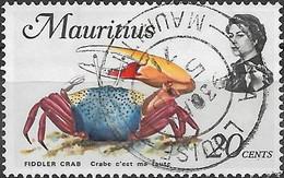 MAURITIUS 1969 Marine Life - 20c - Fiddler Crab FU - Mauricio (1968-...)