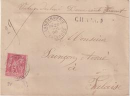 "FRANCE : N° 98 . TYPE SAGE . CHARGE . "" LANGANNERIE CALVADOS  "" . 1898 . - 1877-1920: Semi-Moderne"