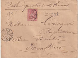 """FRANCE : N° 98 . TYPE SAGE . CHARGE . """" DEAUVILLE CALVADOS  """" . 1896 . - 1877-1920: Semi-Moderne"""