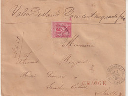 """FRANCE : N° 98 . TYPE SAGE . CHARGE . """" DISSAY S COURCILLON SARTHE  """" . 1896 . - 1877-1920: Semi Modern Period"""