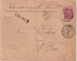 """FRANCE : N° 98 . TYPE SAGE . CHARGE . """" PARIS 21 R DE LA BASTILLE  """" . 1894 . - 1877-1920: Semi-Moderne"""