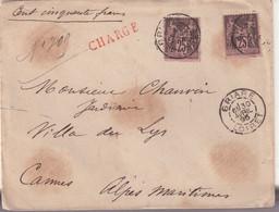 "FRANCE : N° 97 . 2 EX . TYPE SAGE . CHARGE . "" BRIARE LOIRET "" . 1895 . - 1877-1920: Semi-Moderne"