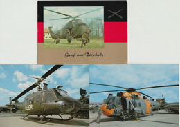 Lot 3 Ansichtskarten Hubschrauber Der Deutschen Bundeswehr - Helicópteros