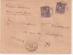 """FRANCE : N° 97 . 2 EX . TYPE SAGE . CHARGE . """" PARIS 75 R BLOMET """" . 1892 . - 1877-1920: Semi-Moderne"""