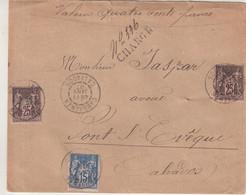 "FRANCE : AFFRANCHISSEMENT A 65 Cts . TYPE SAGE . CHARGE . "" CAMENBERT CALVADOS "" . 1897 . - 1877-1920: Semi-Moderne"
