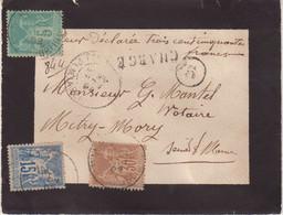 """FRANCE : AFFRANCHISSEMENT A 50 Cts . TYPE SAGE . CHARGE . """" PARIS 5 R DE TURBIGO """" . 1892 . - 1877-1920: Semi-Moderne"""
