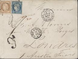 Siège YT 37 36 Cérès Oblitération étoile 34 Double Port Taxé Pr Grande Bretagne Griffe Affranchissement Insuffisant P.34 - 1849-1876: Classic Period