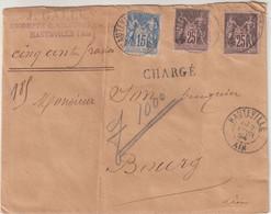 "FRANCE : AFFRANCHISSEMENT A 65 Cts . TYPE SAGE . CHARGE . "" HAUTEVILLE AIN "" . 1894 . - 1877-1920: Semi-Moderne"