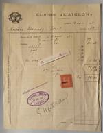 Clinique L'Aiglon - Suisse - Leysin - Vignette Taxe D'Etat - Famille Usannaz Joris - Facture 1922 - Cachet - Switzerland