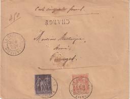 "FRANCE : AFFRANCHISSEMENT A 50 Cts . TYPE SAGE . CHARGE . "" CROISILLE Hte VIENNE "" . 1896 . - 1877-1920: Semi-Moderne"