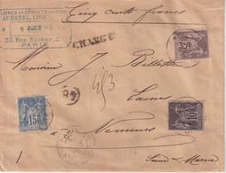"FRANCE : AFFRANCHISSEMENT A 50 Cts . TYPE SAGE . CHARGE . "" PARIS 48 R STE CECILE "" . 1895 . - 1877-1920: Semi-Moderne"