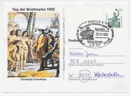 Postal Stationery Germany 1992 Columbus - Santa Maria - Indians - Explorers