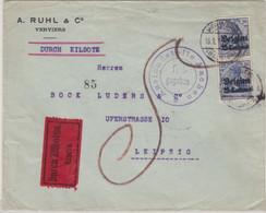 LP Belgien - 2x25C. Germania, Eilbrief/Nachporto Verviers - Leipzig 1915, Zensur - Occupation 1914-18