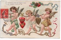 """L330A0588 - Angelots Portant Des Coeurs Sur Carte Gauffrée """"J'ai Plusieurs Coeurs Qui Songent à Moi"""" - PFB N°7185 - Angels"""