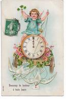 L330A0591 - Angelot Sur Un Chariot Tiré Par Des Colombes Avec Une Horloge Sur Carte Gauffrée - SER N°267 - Angels