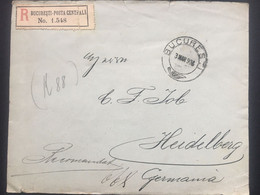 ROMANIA 1906 Registered Bucharest Cover To Heidelberg Germany - Stamps To Rear - Cartas