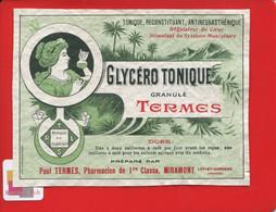 Rare Etiquette Pharmacie Miramont Pharmacien Termes GLYCERO Tonique Jeune Femme Art Nouveau Imp Moderne Agen - Other
