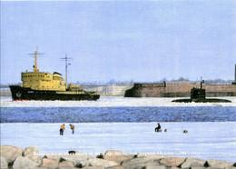 Russia Artist Akentyev - Submarine Project 0636.3 - Mint Postcard Of Publishing House Gangut - Submarines