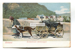 Karlsbad - Hundefuhrwerk, Kohlenwagen, Coal Wagon Pulled By Dog - Early Germany Postcard - Karlsruhe