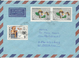 Tanzania Air Mail Cover Sent To Germany (one Of The Stamps Is Damaged) - Tanzania (1964-...)