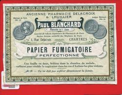 Rare Etiquette  Chartres Pharmacie Pharmacien Blanchard  Lhuillier Papier Fumigatoire Perfectionné Asthme - Other