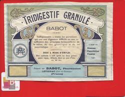 Rare Etiquette Pharmacie LEVIGNAC  Pharmacien  BABOT Tridigestif Granulés - Other