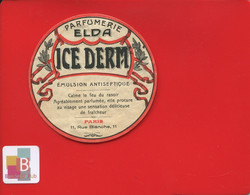 Rare Etiquette Parfumerie Elda  ICE DERM émulsion Antiseptique Paris Rue Blanche - Other