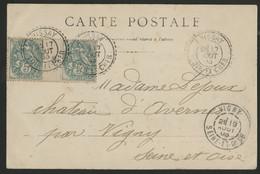 LOIR ET CHER N° 111 Paire Millésimée 3 Type Blanc + C. à D. Facteur Boîtier CHISSAY 17/8/03. (voir Description) - 1877-1920: Semi-Moderne