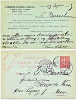 ENTIER POSTAL REPIQUE CP 1905 10C SEMEUSE LIGNEE REPIQUAGE RABOURDIN ORANGER & CABANEL PARIS SCANS RECTO ET VERSO - 1877-1920: Semi Modern Period