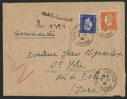 INDRE Recommandé De Fortune De CHATEAUROUX En 1946 (voir Description) - 1921-1960: Modern Period