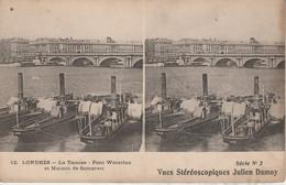 Royaume Uni - LONDRES - La Tamise - Pont De Waterloo Et Maison De Somerset -  Vues Stéréoscopiques Julien Damoy - Cartoline Stereoscopiche