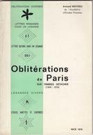 OBLITERATIONS DE PARIS SUR TIMBRES DETACHES. 1849-1876.  ARMAND MATHIEU. 1979 - France