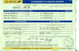Document De La Poste Pour Changement D'adresse Avec TP Préo Feuilles +...- Fait à Village -Neuf Haut Rhin. Le 19/7/1996 - Altri