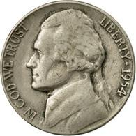 Monnaie, États-Unis, Jefferson Nickel, 5 Cents, 1954, U.S. Mint, Philadelphie - 1938-…: Jefferson