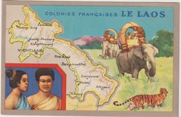 Dav : Carte Publicitaire  Du Lion Noir :  LE  LAOS :  Colonies  Françaises , Tigre, Vientiane , Tra Khek ,saravane ,kong - Advertising