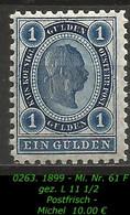 Österreich - Mi. Nr. 61 F - Gez. L  11 1/2 In Postfrisch - Nuevos