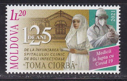 Moldova 2021 Fight Against Covid 19 Corona Doctors Health Disease Medicine Stamp MNH - Disease