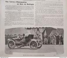 1902 UNE COURSE AUTOMOBILES AU BOIS DE BOULOGNE - LE CHAH DE PERSE - SERPOLLET - OSMONT - DUNLOP ET MICHELIN - 1900 - 1949