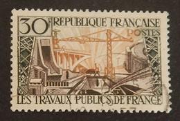 """FRANCE YT 1114 OBLITERE """"TRAVAUX PUBLICS"""" ANNÉE 1957 - Gebruikt"""