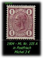 Österreich - Mi. Nr. 105 A - Gez. K 13 : 12 1/2 In Ungebraucht - Nuevos