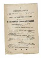 BRUXELLES - Jeanne Caroline MERSMAN - Décédée 1862 - Devotion Images