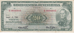 BILLETE DE VENEZUELA DE 20 BOLIVARES DEL AÑO 1961 SERIE X (BANKNOTE) - Venezuela