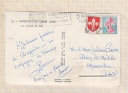 21B1394 AU DOS CARTE BAGNOLES DE L'ORNE CACHET EN LIGNE LINEAIRE GRIFFE COTES DU NORD - Cartas