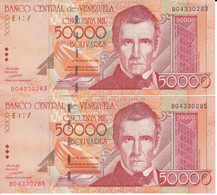 PAREJA IMPAR DE VENEZUELA DE 50000 BOLIVARES DEL AÑO 1998 EN CALIDAD EBC (XF)  (BANK NOTE) - Venezuela