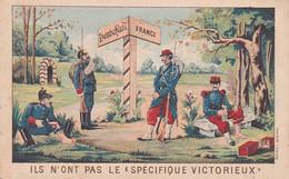 """PUBLICITAIRE """"ILS N'ONT PAS LE SPECIFIQUE VICTORIEUX"""" DOUANIERS PREPARE A EYMET DORDOGNE A VOIR !!!! REF 71150 - Advertising"""