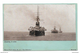 Postcard Royal Navy Pre-dreadnought Battleships Steaming In Line Ahead Unposted - Guerra